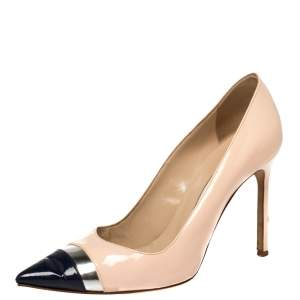 Manolo Blahnik Multicolor Patent Leather Bipunta Pointed Toe Pumps Size 38