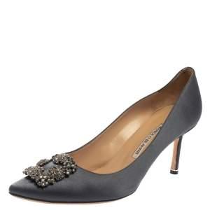 Manolo Blahnik Dark Grey Satin Hangisi Crystal Embellished Pointed Toe Pumps Size 41