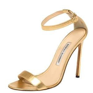 Manolo Blahnik Gold Leather Spezia Ankle Strap Sandals Size 38.5