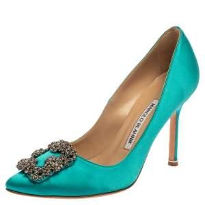 حذاء كعب عالى مانولو بلانيك زخرفة كريستال هانغيسى ساتان أزرق مقاس 35.5