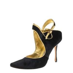 حذاء كعب عالي مانولو بلانيك فرو عجل أسود مقدمة مدببة مقاس 39.5