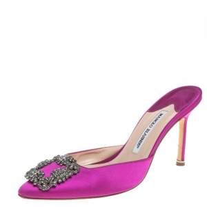 Manolo Blahnik Purple Satin Hangisi Crystal Embellished Sandals Size 38