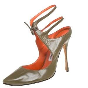 Manolo  Blahnik Olive Green Ankle Strap Sandals Size 39.5