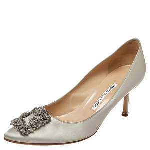 Manolo Blahnik Grey Satin Hangisi Pointed Toe Pumps Size 39