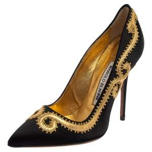 Manolo Blahnik Black Satin Embroidered Pointed Toe Pumps Size 34.5