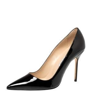 حذاء كعب عالي مانولو بلانيك جلد أسود لامع بي بي مقدمة مدببة مقاس 39.5
