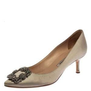 Manolo Blahnik Grey Satin Hangisi Crystal Embellished Pumps Size 37