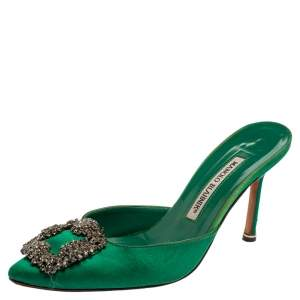 Manolo Blahnik Royal Green Satin Hangisi Pointed Toe Mules Size 36.5