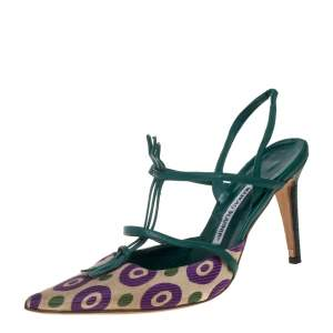 Manolo Blahnik Multicolor Printed Fabric And Leather Pointed Toe Slingback Sandals Size 40.5