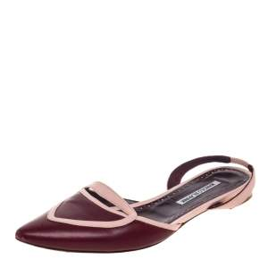 Manolo Blahnik Burgundy/Pink Leather Pointed Toe Slingback Flats Size 39.5