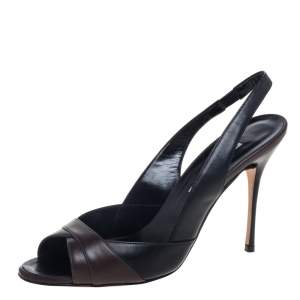 Manolo Blahnik Black /Brown Leather Slingback Sandals Size 40
