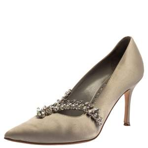 Manolo Blahnik Grey Satin Shufti Jewel Embellished Pumps Size 35.5