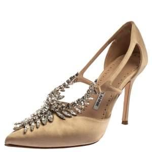حذاء كعب عالى مانولو بلانيك زخرفة كريستال لالا ساتان بيج مقاس 36