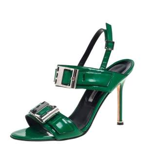 Manolo Blahnik Green Patent Leather Open Toe Ankle Strap Sandals Size 39