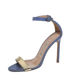 Manolo Blahnik Blue/Gold Leather Ankle Strap Sandals Size 37