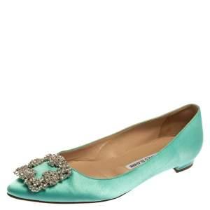 Manolo Blahnik Aqua Green Satin Hangisi Pointed Toe Flats Size 38
