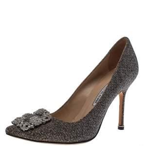 حذاء كعب عالى مانولو بلانيك مقدمة مدببة هانغيسى غليتر ولوركس متعدد الألوان مقاس 37.5