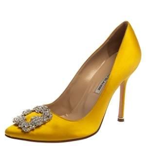 Manolo Blahnik Yellow  Satin Hangisi  Pumps Size 39