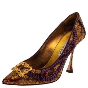 حذاء كعب عالى مانولو بلانيك سليب أون بروكود قماش متعدد الألوان مقاس 38.5