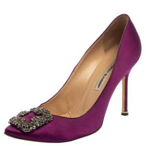 Manolo Blahnik Purple Satin Hangisi  Pumps Size 39.5