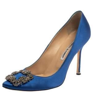 Manolo Blahnik Blue Satin Hangisi  Pumps Size 39.5