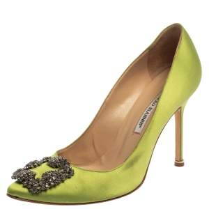 Manolo Blahnik Green Satin Hangisi  Pumps Size 39.5