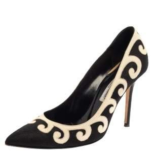 حذاء كعب عالى مانولو بلانيك كانفاس وجلد أبيض / أسود مقاس 39.5