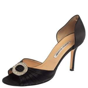 Manolo Blahnik Black Pleated Satin Sedaraby D'orsay Sandals Size 39