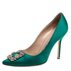 Manolo Blahnik Green Satin Hangisi Crystal Embellished Pumps Size 39