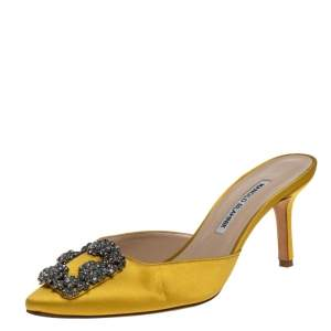 Manolo Blahnik Yellow Satin Hangisi Sandals Size 38