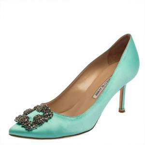 Manolo Blahnik Green Satin Hangisi Embellished Pointed Toe Pumps Size 39