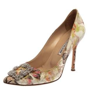 Manolo Blahnik Multicolor Butterfly Print Fabric Hangisi Pointed Toe Pumps Size 39