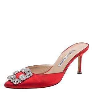 Manolo Blahnik Red Satin Hangisi Embellished Mules Size 37