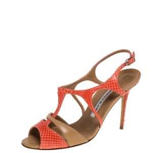 Manolo Blahnik Orange/Beige Leather and Python Sandals Size 37.5