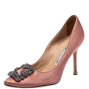 Manolo Blahnik Pink Satin Hangisi Crystal Embellished Pointed Toe Pumps Size 37