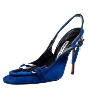 Manolo Blahnik Blue Suede Slingback Sandals Size 39.5