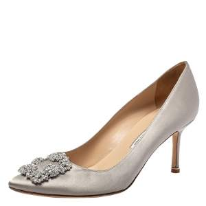 Manolo Blahnik Grey Satin Hangisi Pumps Size 39