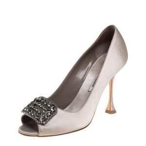 Manolo Blahnik Grey Satin Matik Embellished Peep Toe Pumps Size 37.5