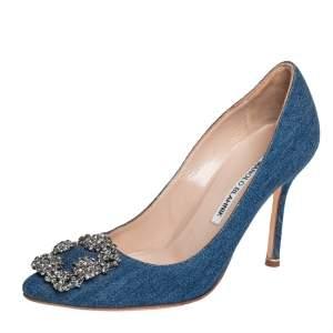 Manolo Blahnik Blue Denim Hangisi Embellished Pointed Toe Pumps Size 36.5