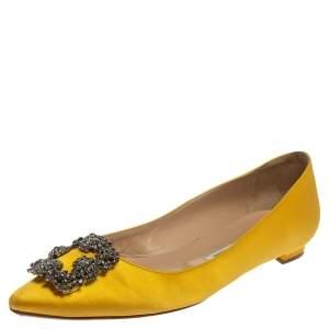 Manolo Blahnik Yellow Satin Hangisi Embellished Ballet Flats Size 39.5