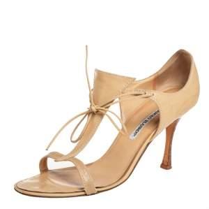 Manolo Blahnik Beige Leather Sandals Size 40.5