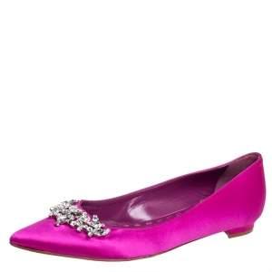 Manolo Blahnik Fuchsia Satin Lurum Embellished Ballet Flats Size 37