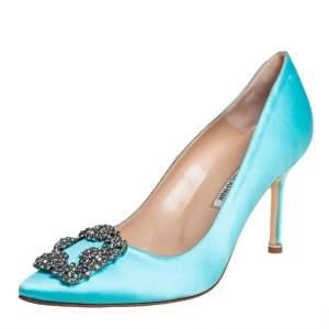 حذاء كعب عالى مانولو بلانيك هانغيسى ساتان أزرق مقاس 37.5