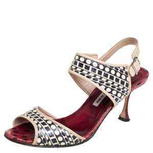 Manolo Blahnik Cream/Black Leather Ankle Strap Sandals Size 38.5