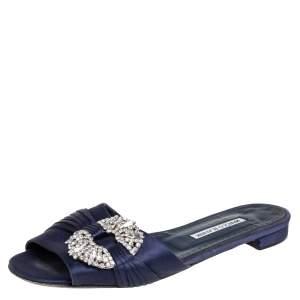 Manolo Blahnik  Navy Blue Satin Crystal Flat Sandals Size 39