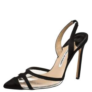 Manolo Blahnik Black Satin and PVC Slingback Gotrianc Sandals Size 38