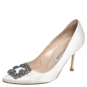 Manolo Blahnik White Satin Hangisi Pumps Size 37.5