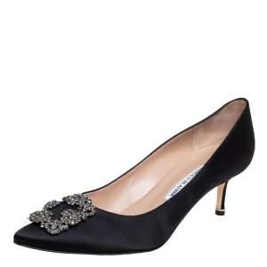 Manolo Blahnik Black Satin Hangisi Crystal Embellished Pumps Size 40.5