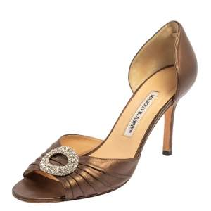 Manolo Blahnik Brown Pleated Leather Sedaraby D'orsay Sandals Size 39.5
