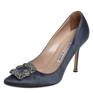Manolo Blahnik Grey Satin Hangisi Embellished Pumps Size 38